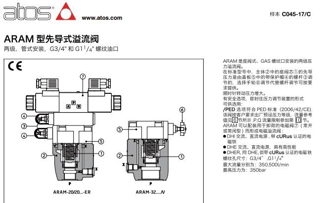 阿托斯溢流阀aram-20/100 72,先导阀aram-20/100 72图片
