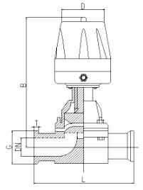 卫生级气动隔膜阀尺寸图