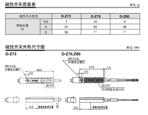 smc磁性开关3c-d-z73技术资料
